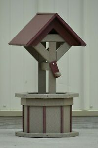 2' Octagon Polywood  Wishing Well Flower Planters. (Clay/cherry roof and trim)