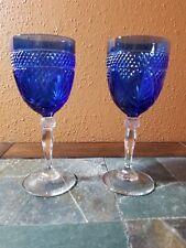 """2 Cristal D'Arques """"Antique"""" Sapphire Blue Water Goblets Glasses 8"""""""
