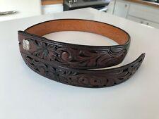 Bohlin Silver Label Hand Crafted Belt Alligator Hand Tooled Leather 32 Sterling