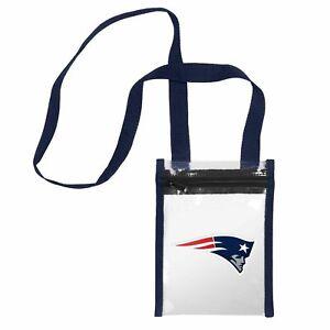 "New England Patriots CLEAR Crossbody Tote Bag Purse Stadium Security 8"" x 6"""