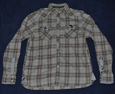 GUESS Dress Shirt Men's XL X-LARGE Button-Down Plaid Check Beige Brown Green