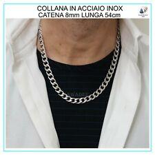 Collana da uomo in acciaio inox argento catena girocollo 8mm lunga 54cm rapper