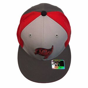Tampa Bay Buccaneers NFL Reebok Pewter & Red Tonal 7 3/4 Fitted Cap Hat $28