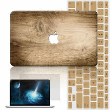 """3in1 Wood Rubberized Hard Case Cover For Macbook Pro Air 11"""" 13"""" 15"""" Retina 12"""""""