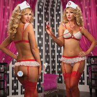 Women Sexy Lingerie Lace Sleeveless Red Nurse Costume Bra Set Babydoll Sleepwear