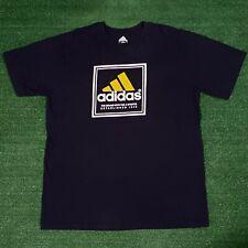 Men's Athletic Adidas Yellow Box Logo 3 Stripes Navy Blue Graphic Tshirt - XL