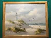Seascape Original Painting Oil on Canvas by Carson, Winter, Lighthouse Sea Grass