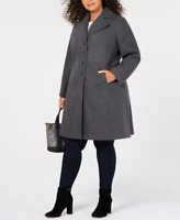 Tommy Hilfiger Womens Plus Size Single-Breasted Walker Coat 2X Grey