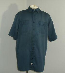 Carhartt Mens S223 XL TALL XLT Navy Blue Twill Mechanic Work Shirt Short Sleeve