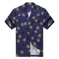 Made in Hawaii Men Hawaiian Aloha Shirt Luau Cruise Party Palm Tree Navy Blue