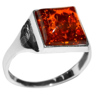 3g Authentic Baltic Amber 925 Sterling Silver Ring Jewelry N-A7130 s.8