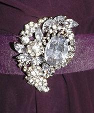 Diamante clear rhinestone silver plated brooch,bridal,maid,evening,prom (212)