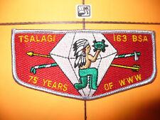 Tsalagi Lodge 163,S-4,1990,75th Ann OA Flap,Chief,RED,70,208,Cherokee Council,NC