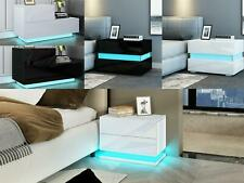 Bedside Cabinet High Gloss Front Table Nightstands 2 Drawers LED/L SHAPE