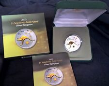 2005 ONE DOLLAR -*SELECTIVELY GOLD PLATED*-*KANGAROO* ONE OZ SILVER PROOF COIN