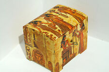 Wood handmade hinged lockable medium trinket chest box decoupage egypt