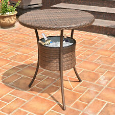 "31.5"" Cooler Table Outdoor Patio Rattan Ice Cool Bar Party Deck Pool Bucket"