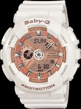 Casio Baby-G BA110-7A1 Ana-Digital White Resin / Rose Gold Dial Ladies Watch