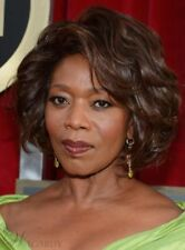 100% Human hair Alfre Woodard Short Wave Hairstyle Fluffy Natural Smooth Wig
