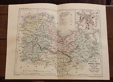 1850 Carte Géographique Atlas époque couleur Département 22 Côte d'Armor