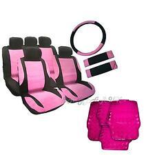 Cute Steering Wheel Belt Leather Look Girly PINK Seat Covers Car Mats Ladies Set