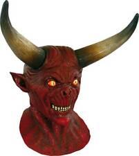 Mens Deluxe Scary Demon Latex Overhead Mask Halloween Red Devil Fancy Dress New