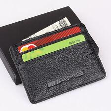 AMG Benz Slim Mini Wallet 100% Genuine Cow Leather Credit Card Case Men Holder