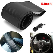 Microfiber Leather DIY Car Steering Wheel Cover 38cm With Needles and Thread