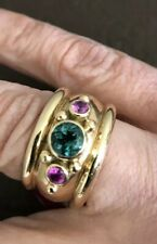 CUSTOM MADE! Green tourmaline band ring with pink sapphires sz 5~ . 20.6grams