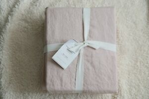 pottery barn belgian flax linen king/cal.king duvet original $299 soft rose new