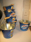 lot of 7 MILLER LITE Ice Bucket Pail Beer with Wooden Handle Lot of 7