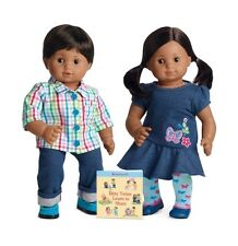 American Girl Bitty Twins Medium Skin Brown hair Boy & Girl  Book NEW IN BOX