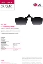 LG AG-F220 AGF220 3D Cinema Clip-On Passive Glasses Gafas Pasivas Tipo Clip