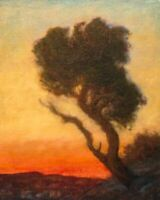 Sunset Fire Mountains Tree Tonalist Impressionism Art Oil Painting Landscape