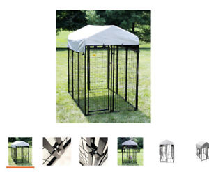 Dog Fence Kennel Kit 6 ft x 4 ft x 6 ft Welded Wire Pet Secure Shade Enclosure
