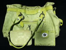 Coach F14696 Penelope Green Signature Jacquard & Leather Satchel w/ EXTRAS!