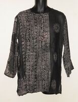 Ethnic Indian Hindu Print Long Sleeve Shirt Om Buddha Ganesh Krishna Shiva Natra