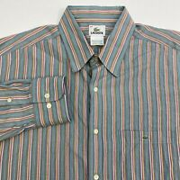 Lacoste Button Up Dress Shirt Men's 44 Long Sleeve Multi Striped Casual Cotton