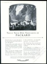 1923 Packard car sedan people on horses illustrated vintage print ad