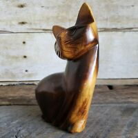 Wood Carving Cat Figure Sculpture Siamese Kitty Vintage Mid-Century 6 inch tall