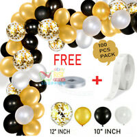 100 Balloon Arch Kit Garland Birthday Wedding Baby Shower Parties (Black/Gold)
