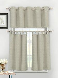 3 Piece Textured Cotton Blend Silver Taupe Jacquard Kitchen Window Curtain Set