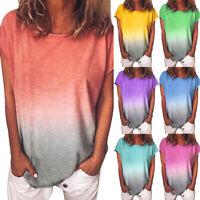 Plus Size Women Summer Tie Dye T-Shirt Round Neck Short Sleeve Tee Top Trendy