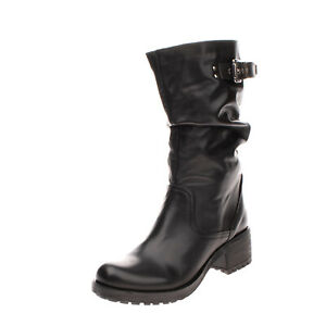 Leather Mid-Calf Boots Size 40 UK 7 US 10 Black Made in Italy Slouchy Lug Sole