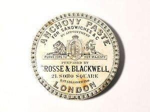 Antique CROSSE & BLACKWELL Anchovy Paste b/w Pot Lid a/f 8.5cm #PL95
