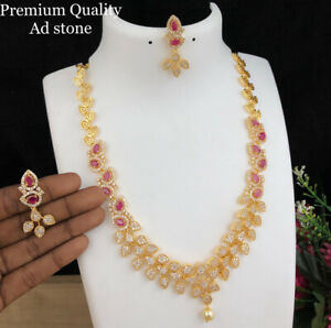 Indian Bollywood Style CZ AD Gold Plated Jewelry Chain Necklace Delicate Red Set