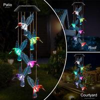 Color-Changing LED Solar Powered Hummingbird Wind Chime Light Yard Garden Decor