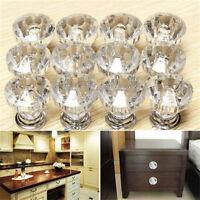 12Pcs/Set Crystal Glass Door Knobs Drawer Cabinet Furniture Kitchen Handle Tool