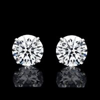 4.00 CT ROUND CUT CREATED DIAMOND EARRINGS 14K SOLID WHITE GOLD STUDS PUSH-BACK
