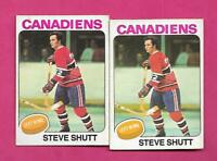 2 X 1975-76 OPC # 181 CANADIENS STEVE SHUTT 2ND YEAR  CARD (INV# D0798)